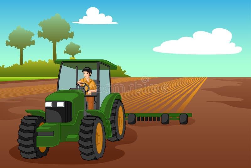 Junger Landwirt Riding eine Traktor-Illustration lizenzfreie abbildung