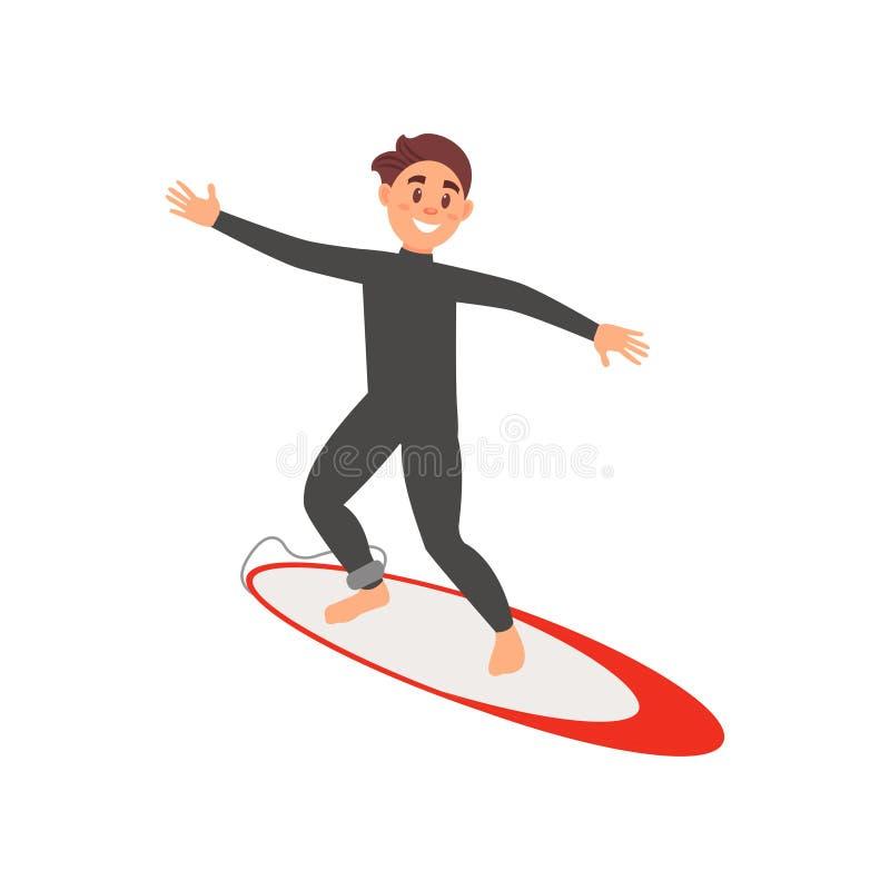 Junger männlicher Athlet teilgenommen an dem Surfen Kerl auf Surfbrett Extremer Wassersport Buntes flaches Vektordesign stock abbildung