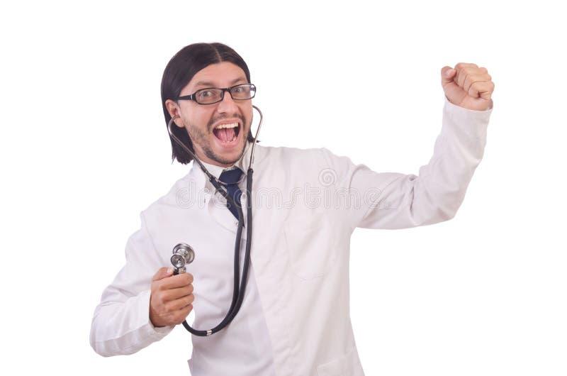 Junger männlicher Doktor lokalisiert stockfotografie