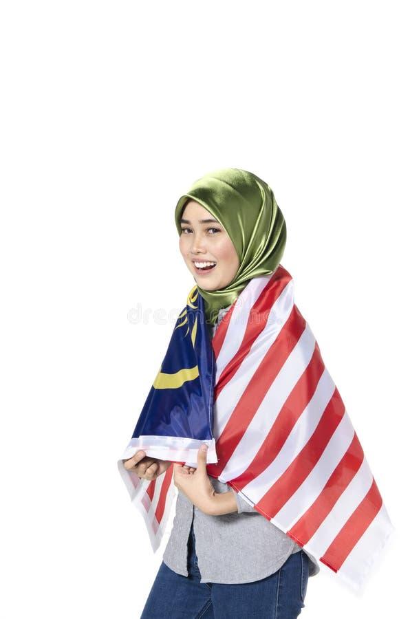 Junger malaysischer Zivilist mit glücklichem Gesicht Unabhängigen feiernd stockbilder