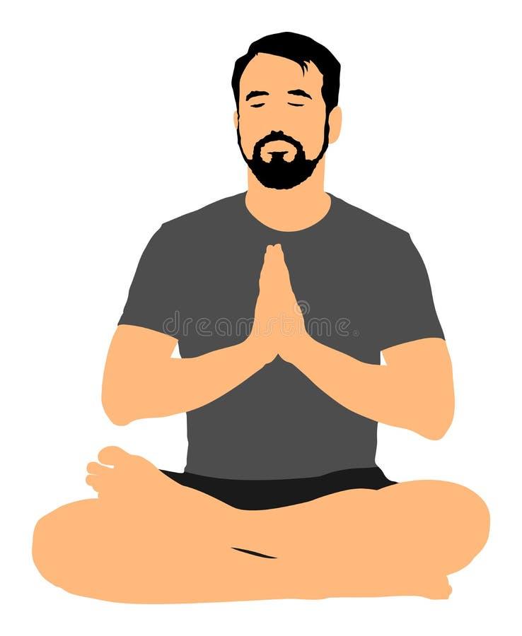 Junger Mann übendes Yoga Padmasana-Sitzenhaltung vektor abbildung