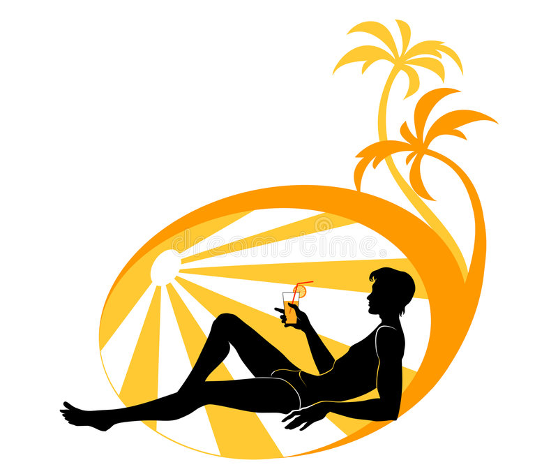 Junger Mann auf dem Strand stock abbildung