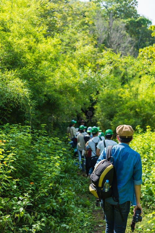 Junger Mann auf einer Exkursion im Waldselektiven Fokus lizenzfreie stockfotografie