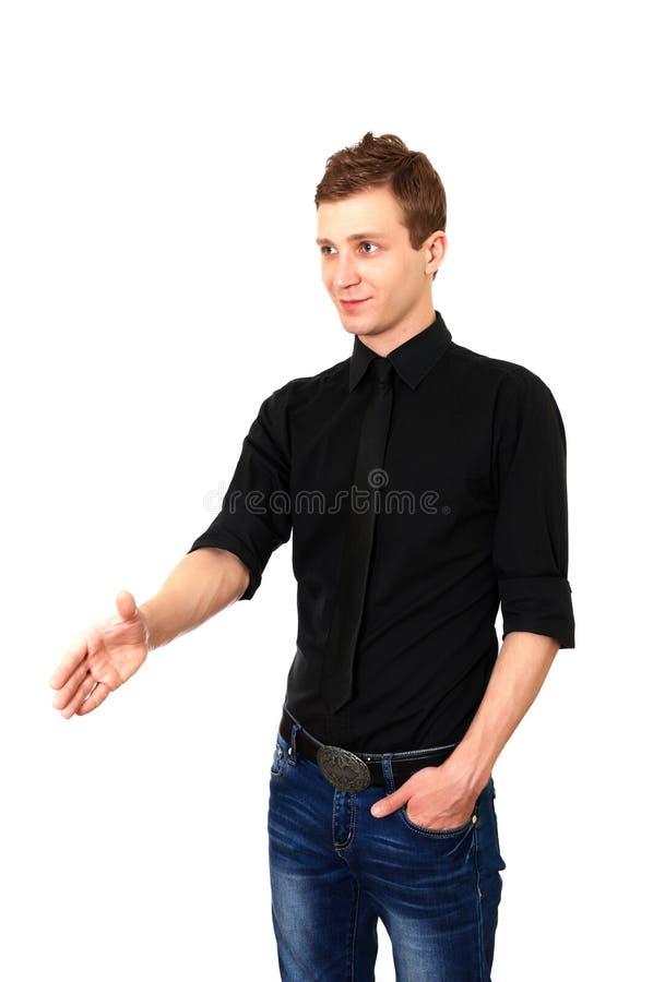 Junger Mann betriebsbereit, ein Abkommen einzustellen stockfoto