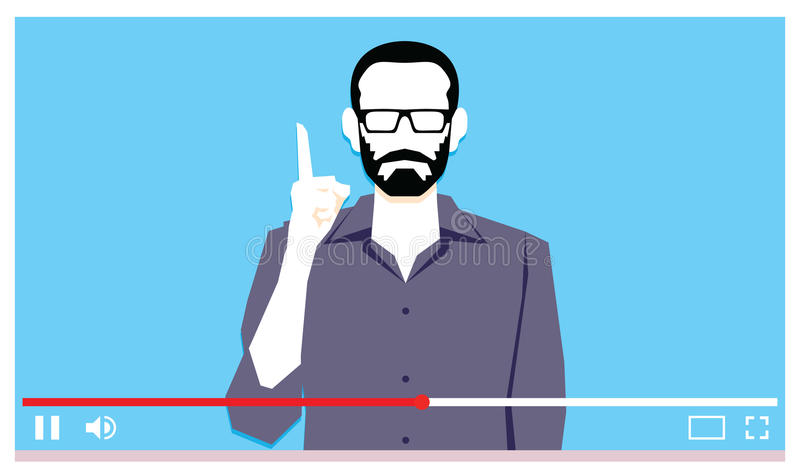 Junger Mann, der über Internet-Video spricht stock abbildung