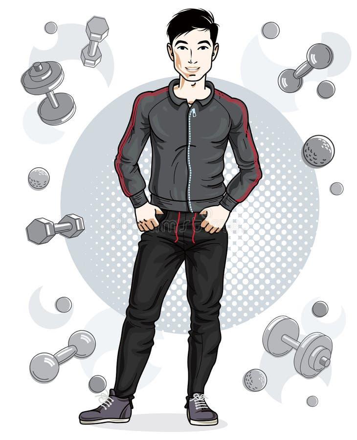 Junger Mann der überzeugten hübschen Brünette steht auf einfachem backgr vektor abbildung