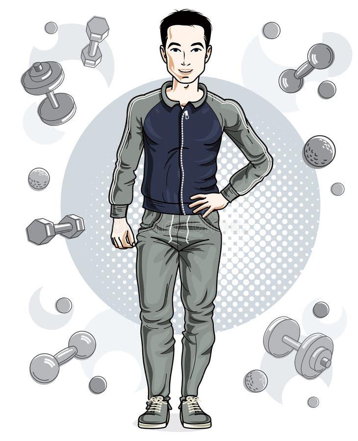 Junger Mann der überzeugten hübschen Brünette steht auf einfachem backgr stock abbildung