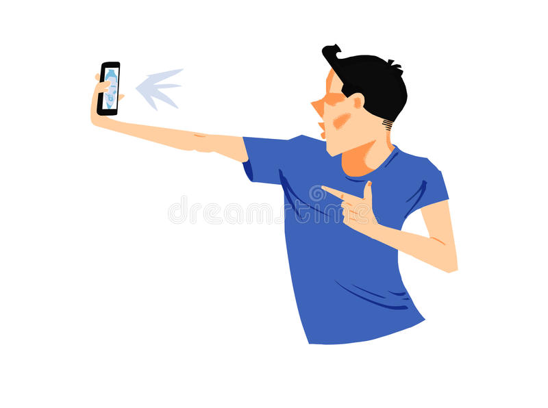 Junger Mann, der überzeugtes selfie mit intelligentem Telefon nimmt stockbilder