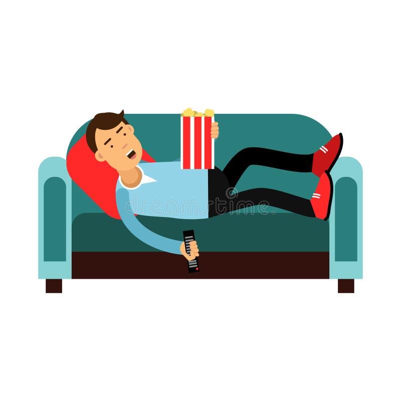 Junger Mann, der auf einem Sofa und aufpassenden EINER Fernsehillustration liegt stock abbildung