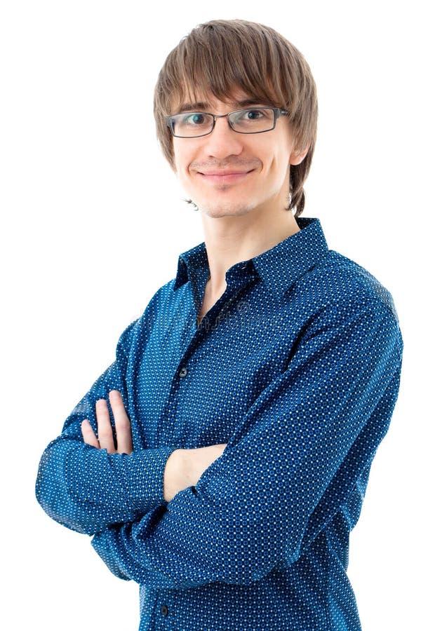 Junger Mann, der blaues Hemd trägt stockfoto