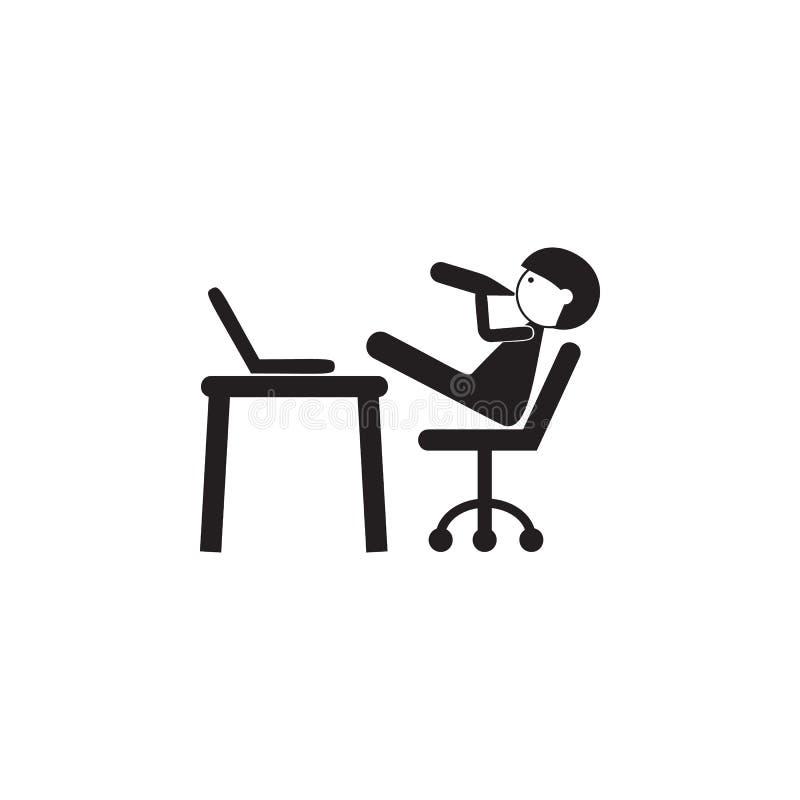 junger Mann an der Computerikone Illustration der Familienwertikone Erstklassiges Qualitätsgrafikdesign Zeichen und Symbolikone f lizenzfreie abbildung