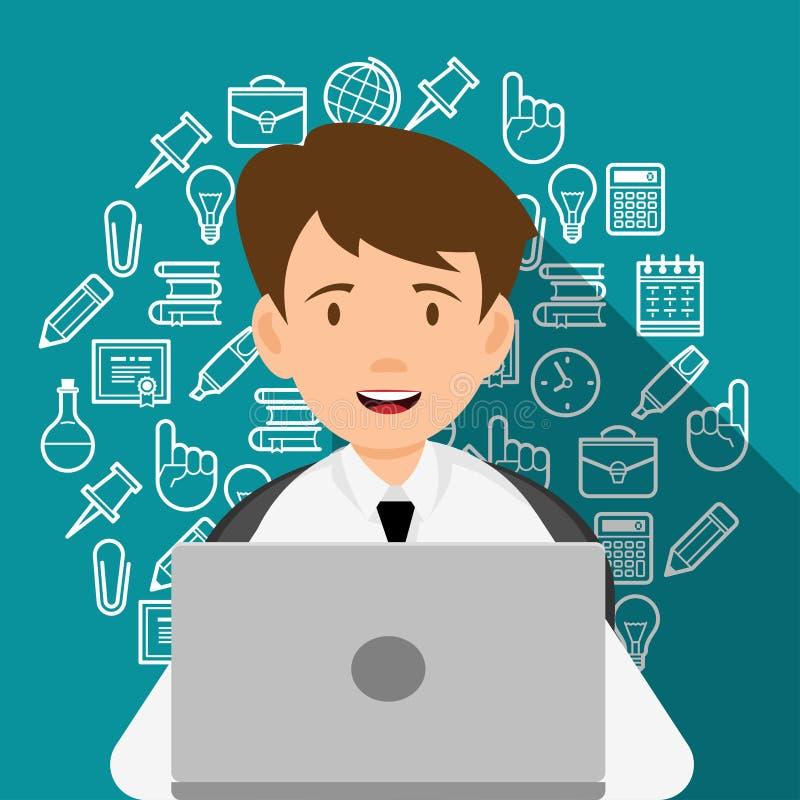 Junger Mann, der an dem Computer arbeitet stock abbildung