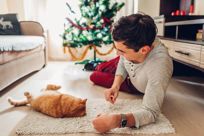 Junger Mann, der durch Weihnachtsbaum liegt und zu Hause mit Katze spielt Konzept des neuen Jahres stockfoto
