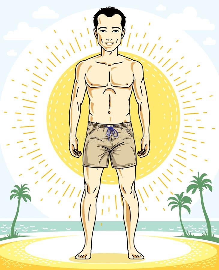 Junger Mann der hübschen Brünette, der auf tropischem Strand kurz gesagt steht lizenzfreie abbildung