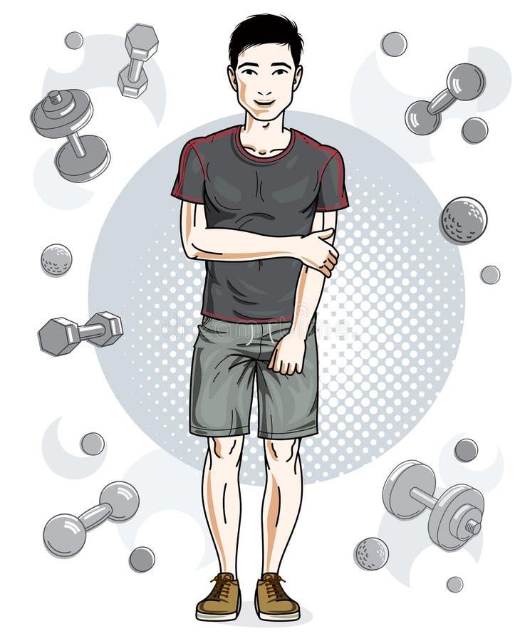 Junger Mann der hübschen Brünette steht auf einfachem Hintergrund mit vektor abbildung