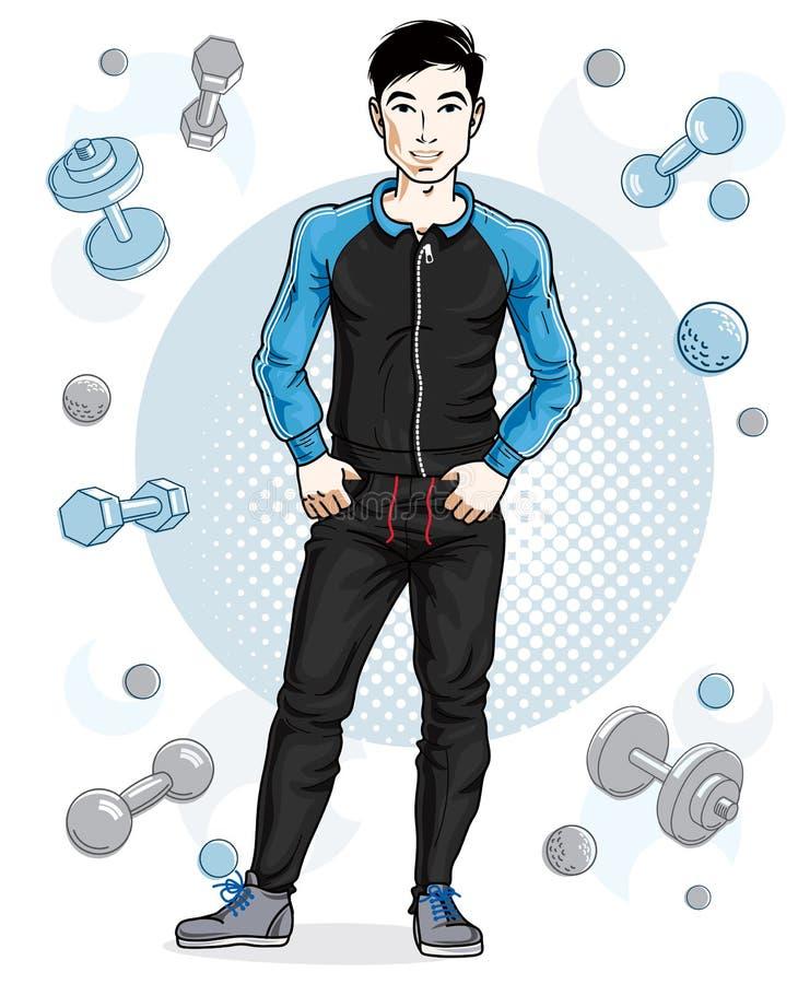 Junger Mann der hübschen Brünette wirft auf einfachem Hintergrund mit dumbbe auf stock abbildung