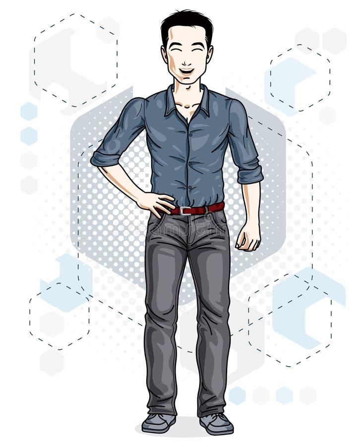 Junger Mann der hübschen Brünette wirft auf modernem Hintergrund mit hexago auf stock abbildung