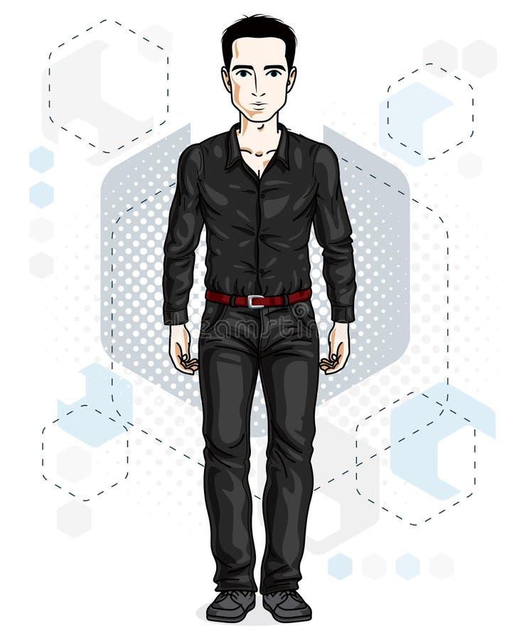 Junger Mann der hübschen Brünette wirft auf modernem Hintergrund mit hexago auf vektor abbildung