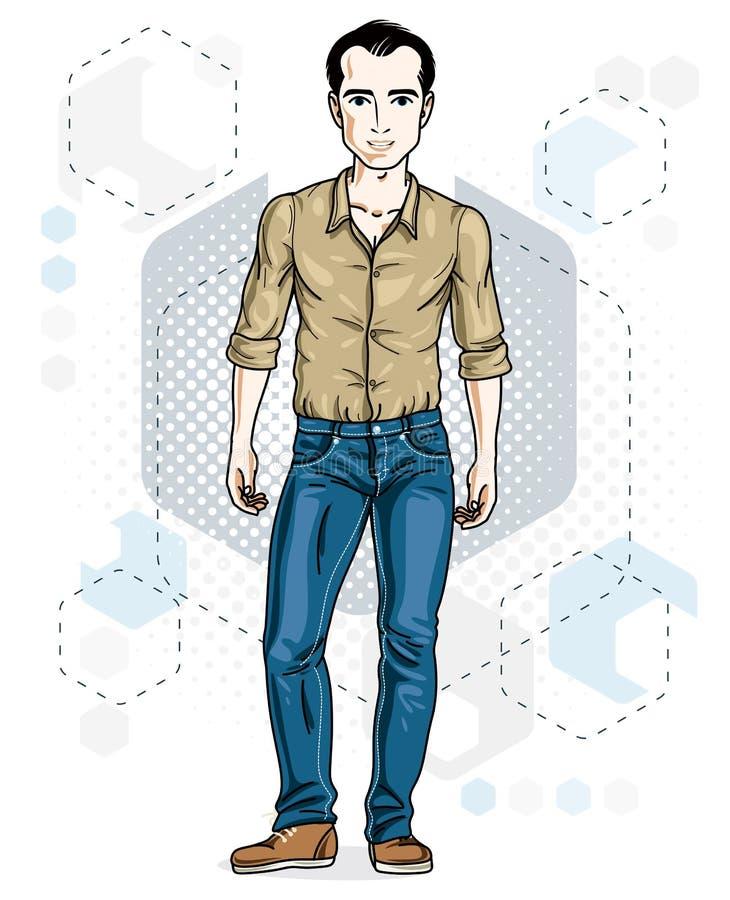 Junger Mann der hübschen Brünette wirft auf modernem Hintergrund mit hexago auf lizenzfreie abbildung