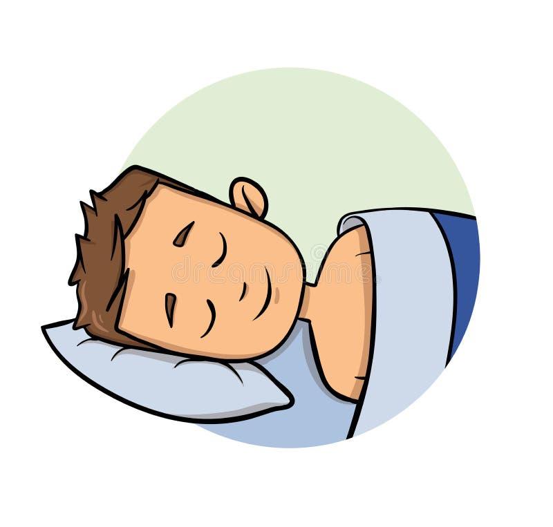 Junger Mann der Karikatur, der in einem Bett schläft Karikaturdesignikone Flache Vektorillustration Getrennt auf weißem Hintergru stock abbildung
