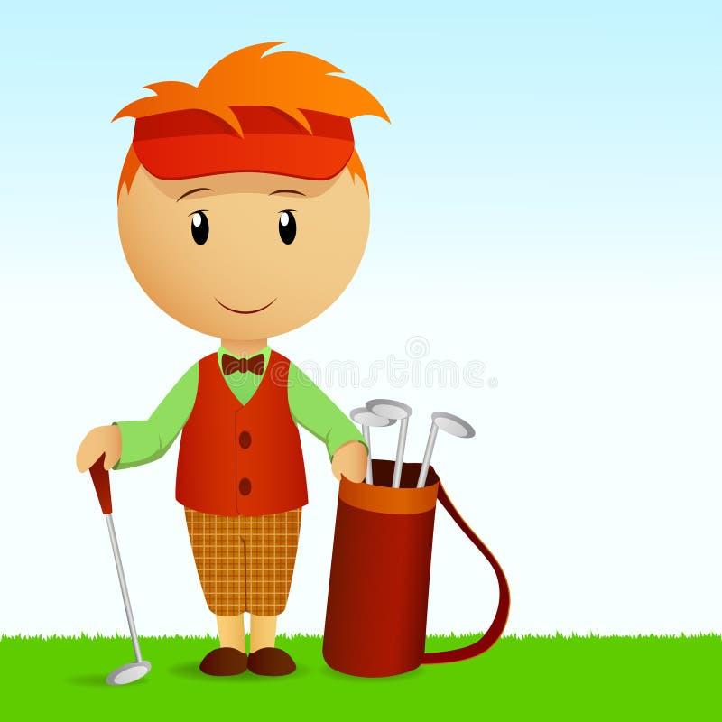 Junger Mann der Karikatur mit Beutel der Golfclubs stock abbildung