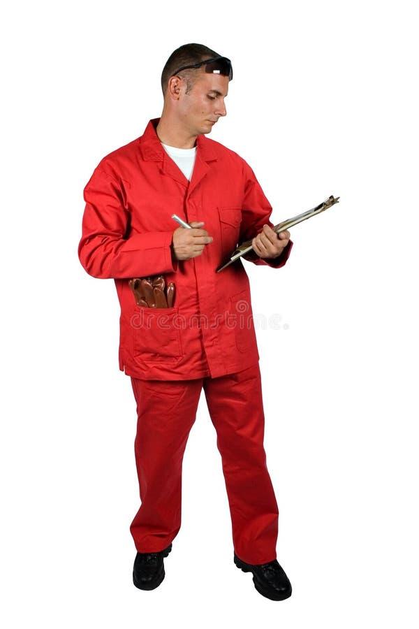 Junger Mann in der Schutzkleidung stockbilder