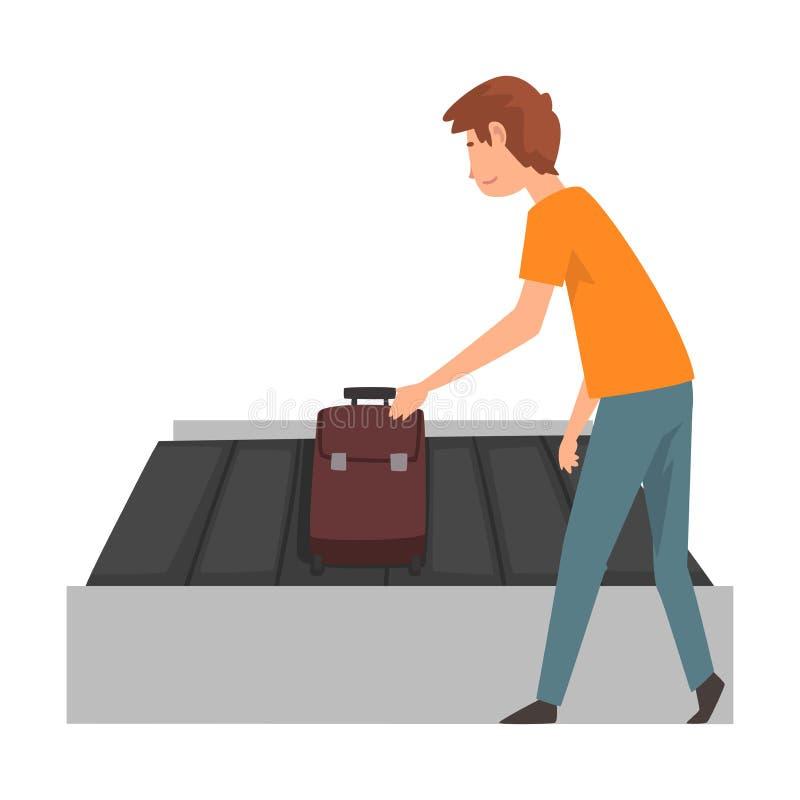 Junger Mann, der seinen Koffer auf Gepäck-Förderband an der Flughafen-Vektor-Illustration aufhebt vektor abbildung
