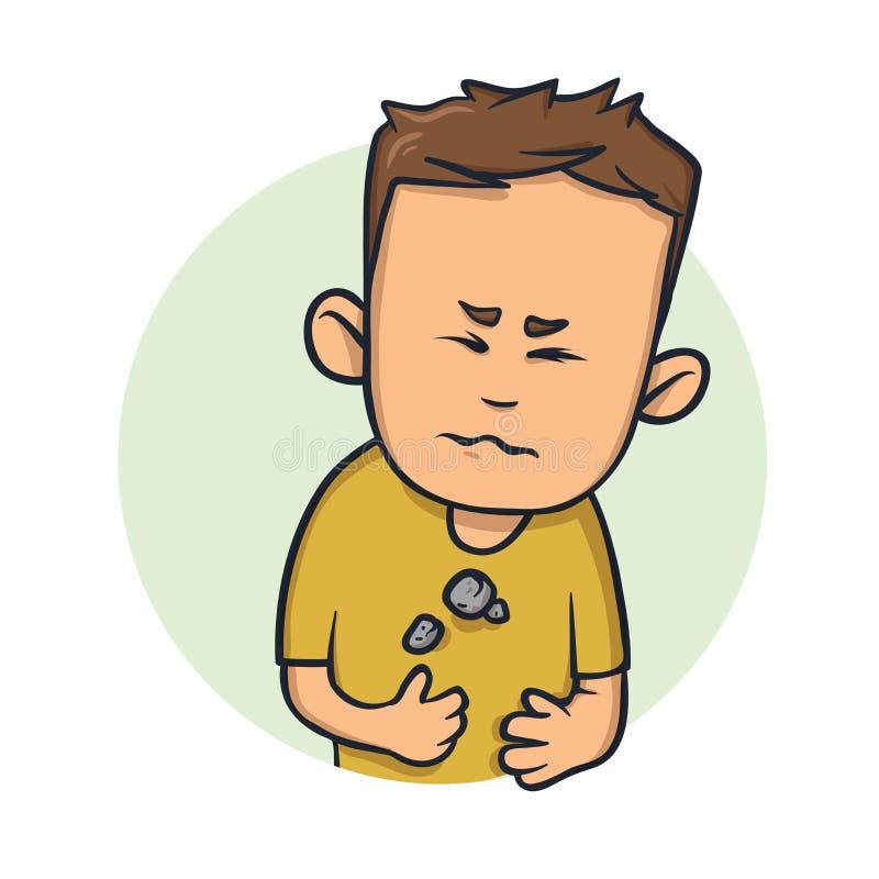 Junger Mann, der in seiner Kasten Schwierigkeit schwer sich fühlt, um zu atmen Karikaturdesignikone Flache Vektorillustration ein lizenzfreie abbildung