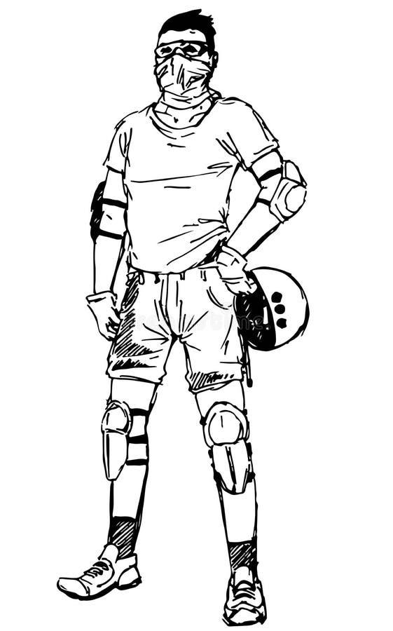 Junger Mann des Vektors mit dem bedeckten Gesicht, das fiktiven schützenden extremen Sportgang trägt und den Sturzhelm hält lizenzfreie abbildung