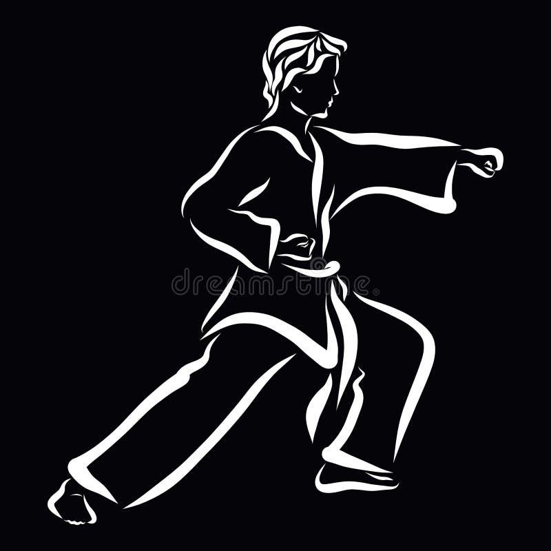 Junger Mann in einem Anzug für Kampfkünste, Kampf, schwarzer Hintergrund vektor abbildung