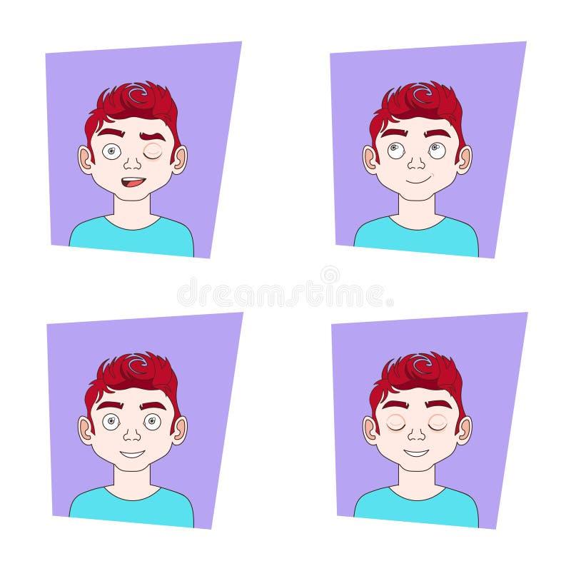 Junger Mann-Gesichts-Ausdrücke mit verschiedenen Gefühlen Guy Emotional Icons Collection stock abbildung