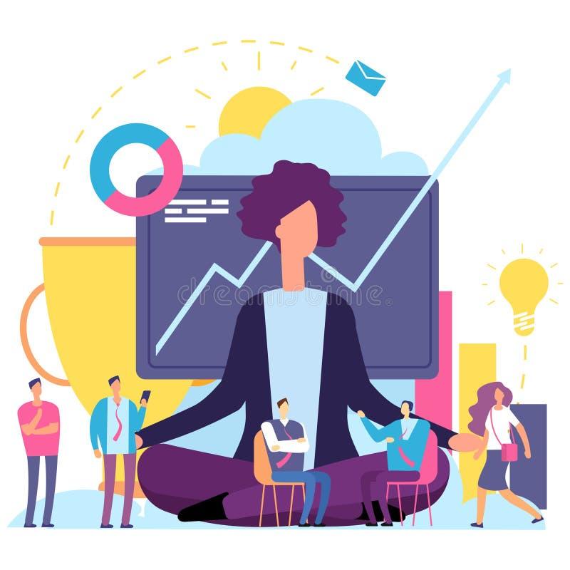 Junger Mann hob seine Hände zum Himmel an Geschäftsfrau im emotionalen Mindfulnessmeditieren des Arbeitsprozessvektors vektor abbildung