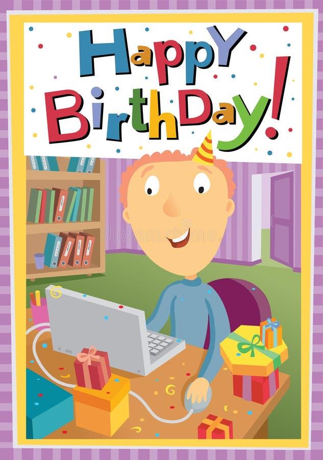 junger Mann im Büro feiert Geburtstag stock abbildung