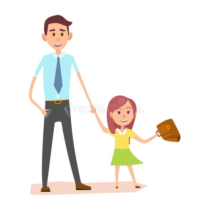 Junger Mann im blauen Hemd hält kleine Mädchen-Hand stock abbildung
