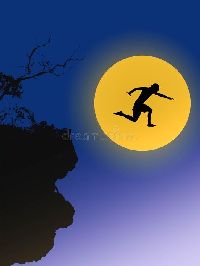 Junger Mann im Schattenbild springt auf digitale Zusammensetzung des großen Mondes lizenzfreie abbildung