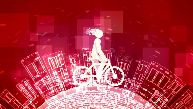 Junger Mann ist auf einem abstrakten Fahrrad stock abbildung