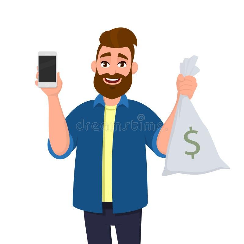 Junger Mann ist Vertretung oder Halten der Geldtasche, Bargeldtasche Mann zeigt eine leere oder leere Bildschirmanzeige der Zelle vektor abbildung