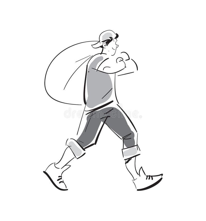 Junger Mann mit Abfalltaschen-Vektorikone stock abbildung