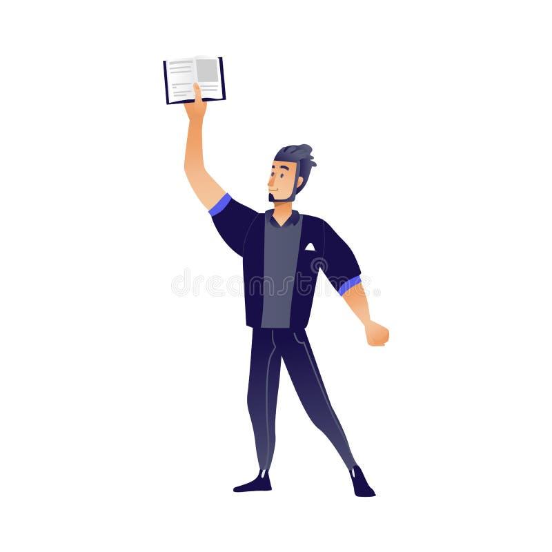 Junger Mann mit Buch - offenes Lehrbuch der Stellung und der Holding der Karikaturmännlichen rolle in seiner Hand oben vektor abbildung