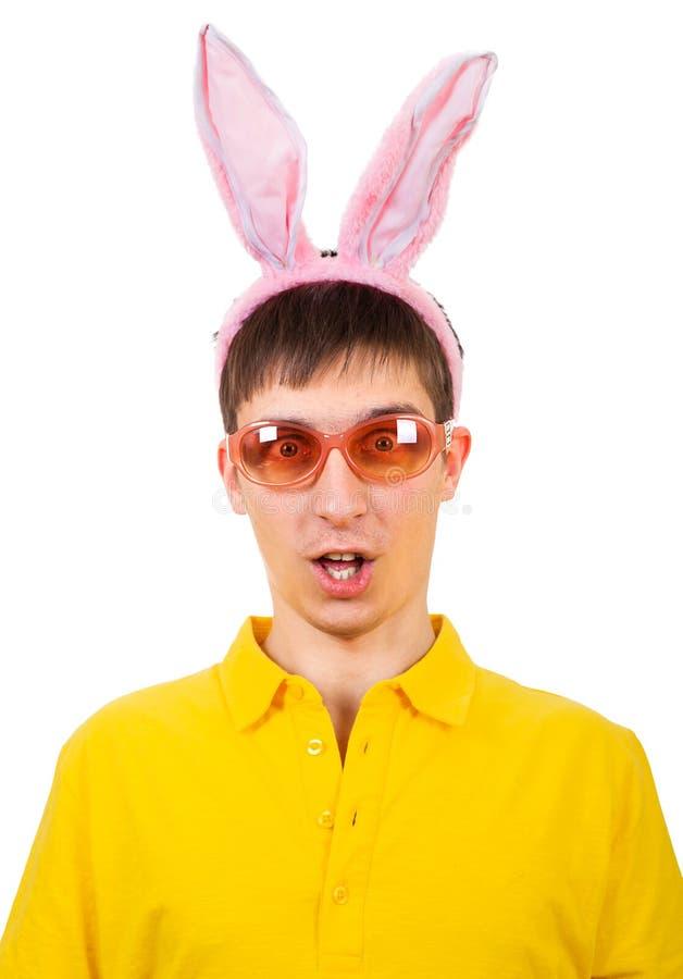 Junger Mann mit Bunny Ears stockfotografie