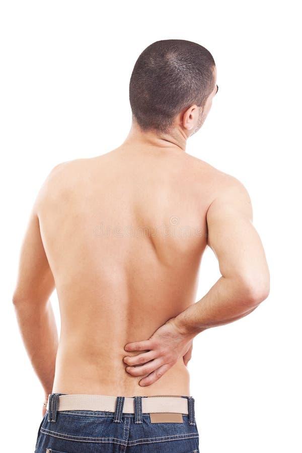 Junger Mann mit den rückseitigen Schmerz stockbilder