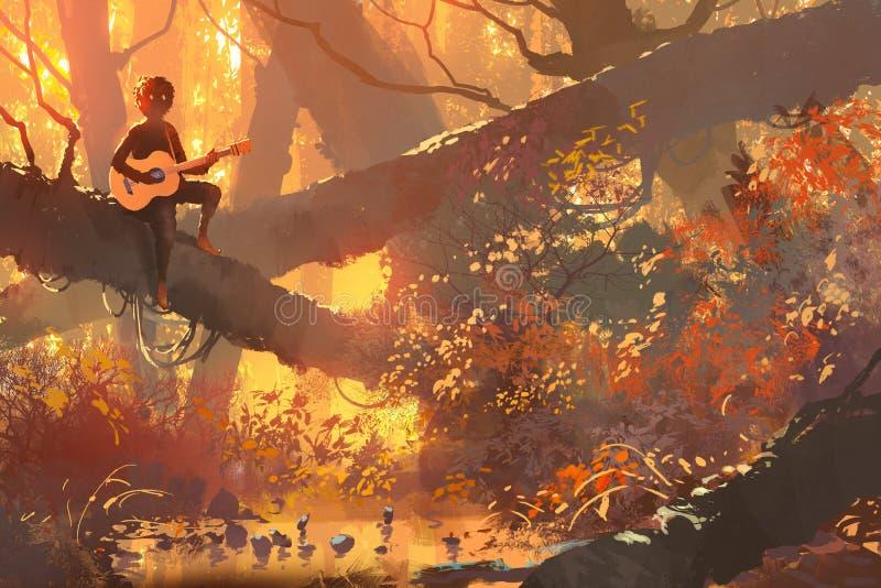 Junger Mann mit der Gitarre, die auf dem Baum im Wald sitzt stock abbildung