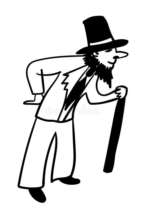 Junger Mann mit einem gefälschten Bart alte komische Illustration vortäuschend lizenzfreie abbildung