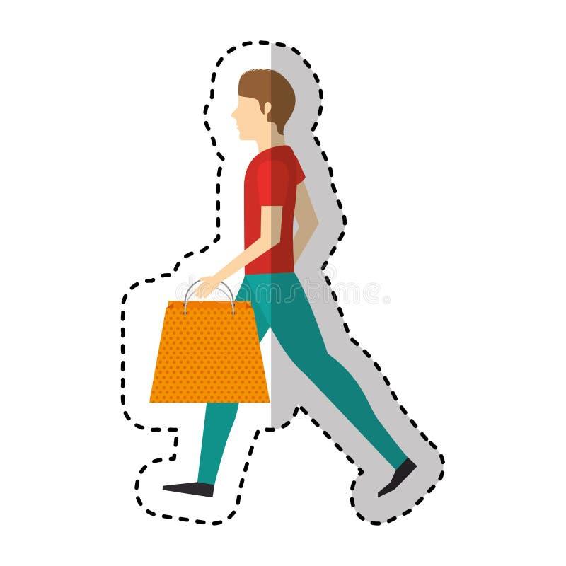 Junger Mann mit Einkaufstasche lizenzfreie abbildung