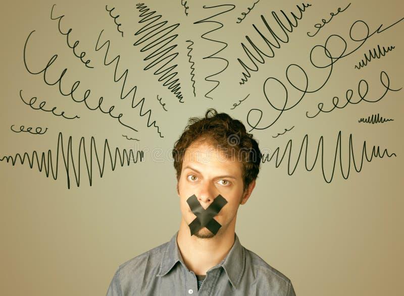 Junger Mann mit geklebtem Mund und gelockten Linien lizenzfreies stockbild