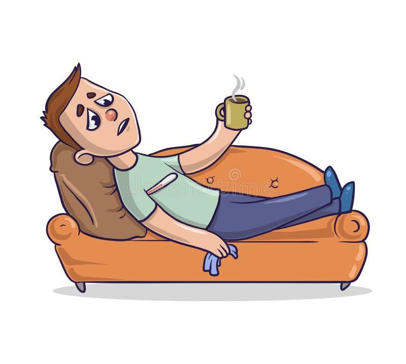 Junger Mann mit Kälte und laufender Nase liegt auf einer sandig-farbigen Couch und nimmt Medizin ein Kerl auf einem Sofa, das kra stock abbildung