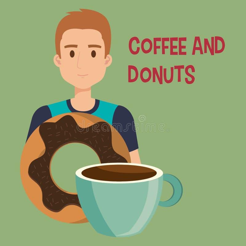 Junger Mann mit Kaffee und Schaumgummiringen stock abbildung