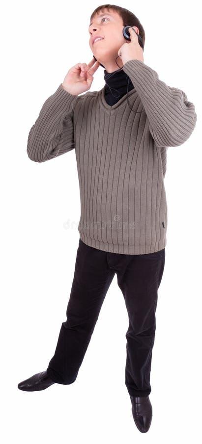 Junger Mann mit Kopfhörern stockfotografie