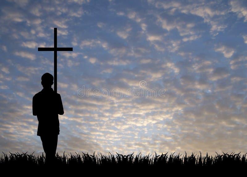 Junger Mann mit Kreuz lizenzfreies stockbild