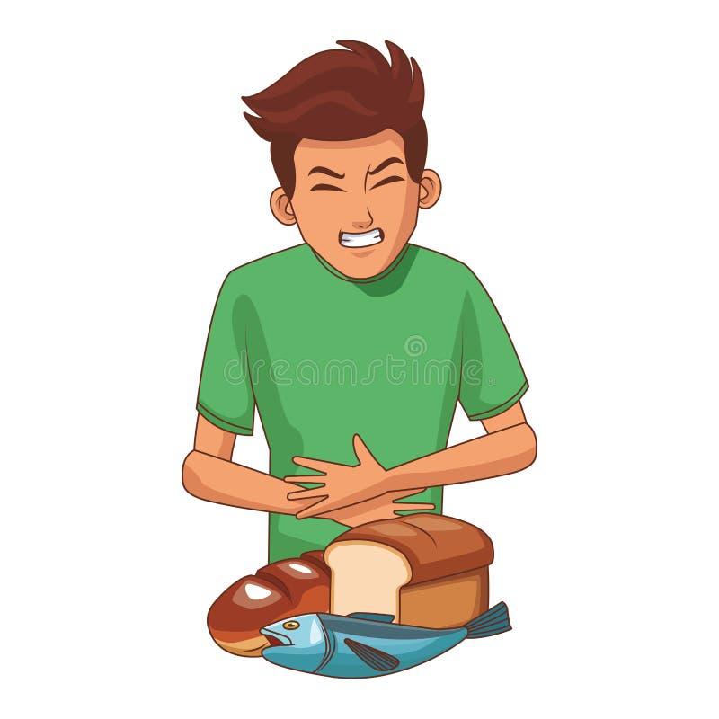 Junger Mann mit Magenschmerzen lizenzfreie abbildung